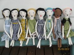 22 Inch Rag Dolls- Recycled and Vintage Textiles-OOAK-Custom & Wholesale Welcome - Handmade Heirloom Quality Cloth Dolls. $85.00, via Etsy.