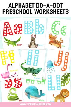 Teach the alphabet to preschoolers in a fun & engaging way with these colorful animal themed Do A Dot Letter Worksheets! Use Do A Dot markers to fill in the empty holes in each letter or  laminate the pages and have students place play-doh balls in each blank dot. Perfect for a fun & interactive way for children to learn letter formation, reinforce capital and lower case letters, and learn beginning sounds. #preschool #kindergarten #alphabet #letters #worksheets #activites #activity… Free Preschool, Preschool Kindergarten, Preschool Learning, Teaching The Alphabet, Learning Letters, Alphabet Crafts, Alphabet Letters, Alphabet Activities, Educational Activities