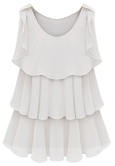 White Sleeveless Tired Ruffle Chiffon Blouse