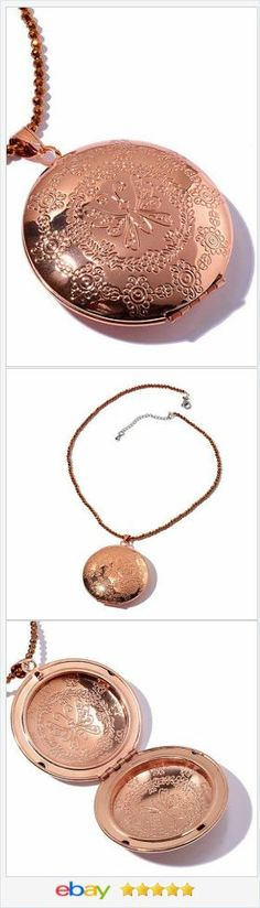 "Rose Tone Locket Necklace 18"" long USA Seller #ebay http://stores.ebay.com/JEWELRY-AND-GIFTS-BY-ALICE-AND-ANN"