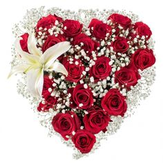 Devoted Heart #heart #tribute #red #roses #white #lilies #lily #gypsophila #flowers #sympathy