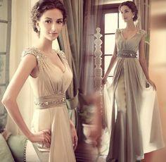 Champagne  Wedding Dress - Bridal Gown - Modern High fashion - 09. $149.00, via Etsy.