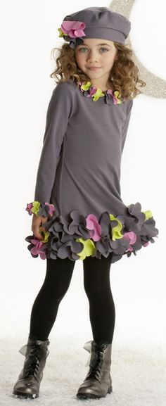 Biscotti Charcoal Gray Girls Urban Garden Dress