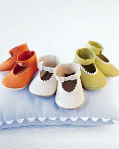 Felt Baby Shoes How-To There's no better way to cover a baby's precious toes than with a pair of soft, snug hand-sewn booties. They may seem daunting, but these slippers are made easy with ingenious templates. Add subtle detailing here and there with punched holes, trim, or snap closures MarthaStewart.com