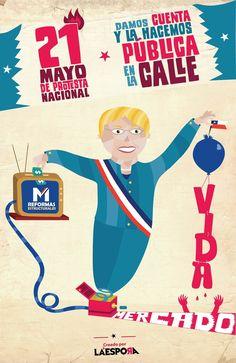 """""""21 de Mayo de Protesta Nacional"""" / Cartel creado por La Espora. 2014"""