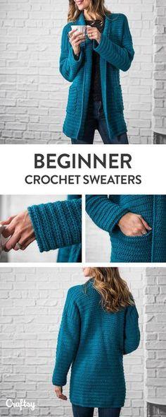 Beginner Sweater Projects Pattern & Yarn Mailed to You! 2019 Beginner Sweater Projects Pattern & Yarn Mailed to You! The post Beginner Sweater Projects Pattern & Yarn Mailed to You! 2019 appeared first on Crochet ideas. Crochet Coat, Crochet Cardigan Pattern, Crochet Shawl, Crochet Clothes, Crochet Sweaters, Crochet Patterns, Knitting Patterns, Crochet Shrugs, Sewing Patterns