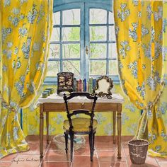 """Spring in the Yellow Bedroom"" by Josephine Grant  Medium: Watercolour Size: 11.8 x 11.8 inches"