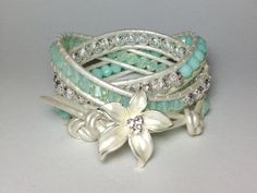 Swarovski Mint Crystal & Silver Filigree Triple by DesignsByJen1,