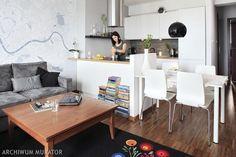 mały salon z aneksem kuchennym - Szukaj w Google Open Plan Apartment, Small Apartment Interior, Condo Interior, Apartment Kitchen, Interior Design, Kitchen Corner, Living Room Kitchen, Kitchen Decor, Studio Apartment Layout