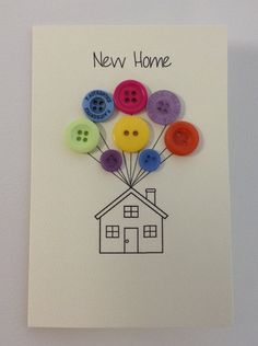 Cute Handmade card with envelope. C6 size. Array of colours and button types. Each one is handmade so may vary slightly, as all the buttons