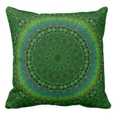 Green-Rainbow Mandala Pillow
