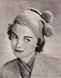 Vintage Knitting Pattern Instructions to Make a Ladies Double Bobble Hat 1950's