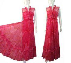 Hot Pink Paisley SILK Vintage 1970s Elegant Sheer by PinkyAGoGo, $199.99