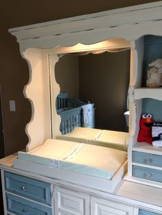 Lighted Dresser With Hutch, Converted To Changing Table