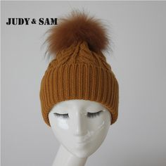 14 Colors Warm Beanie New Design Custom Fashion Winter Knit Hats For Women Stylish Fluppy Beanie Cap Matching Genuine Fur Pompom