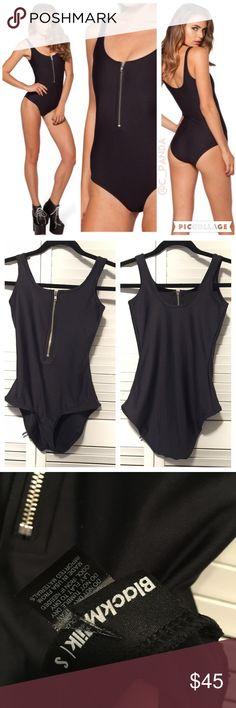 Blackmilk black matte zip suit tank one piece swim NWOT cut label Black milk clothing black matte zip suit. Perfect condition never worn. Size small Blackmilk Tops