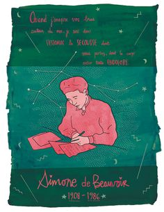 Simone de Beauvoir print Simone de Beauvoir by Annickg on Etsy Washi, Heart Illustration, Illustrations, Heart Print, Vincent Van Gogh, Powerful Women, Paper Size, Etsy, My Idol