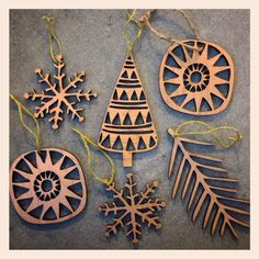 laser cut wooden snowflake ornament by swallowfield on Etsy