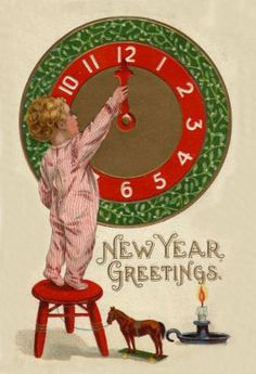 Vintage New Year Greetings Postcard. Kid In PJs Setting Clock Postcard Signed Wall S. Vintage Happy New Year, Happy New Year Cards, New Year Wishes, Happy New Year 2019, New Year Greetings, Christmas Greetings, Vintage Greeting Cards, Vintage Christmas Cards, Vintage Holiday