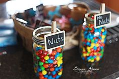 Humorous Gender Reveal Party Ideas | Halfpint Design - Nuts or no nuts, M&M gender reveal food buffet