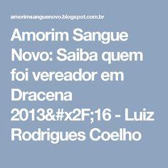 Amorim Sangue Novo: Saiba quem foi vereador em Dracena 2013/16 - Luiz  Rodrigues Coelho