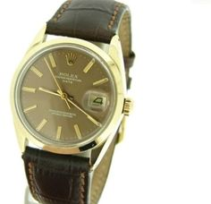Mens Rolex 14k Yellow Gold Shell Date Brown Leather Watch Bronze Stick Dial. Get the lowest price on Mens Rolex 14k Yellow Gold Shell Date Brown Leather Watch Bronze Stick Dial and other fabulous designer clothing and accessories! Shop Tradesy now