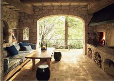 Perfect outdoor area with dining and fireplace.