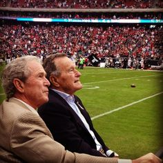 Presidents George Bush (41) & George W Bush (43), serving as honorary captains, led the Houston players onto the field at Reliant Stadium in Houston. They then paid tribute to U.S. soldiers & their families as part of Salute to Service Week - November 17, 2013.