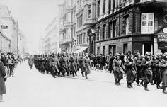 German troops parade in Copenhagen, Denmark on April 20, 1940 to celebrate Hitler's birthday.