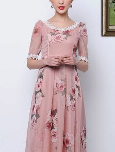 Dusty Rose Pink Midi Dress with Floral Print and by DressStory