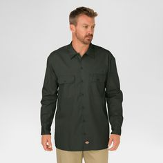 Dickies Men's Big & Tall Original Fit Long Sleeve Twill Work Shirt- Olive Green Xxl Tall