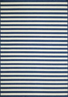 "Stripes Indoor/Outdoor Rug (Blue) - 8'6"" x 13' : $622.00. Available online at www.TheLookInteriorsNH.com"
