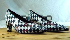 Vintage-Nicole-Miller-Black-White-Checkerboard-Low-Heel-Pump-Made-Italy-8-1-2