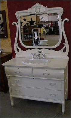 Photo of Front View - Antique Bathroom Vanity: Shabby Chic White Antique Dresser with Sink & Faucet #shabbychicdressersmakeover