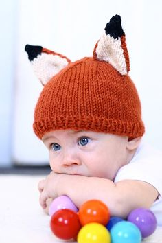 Baby Fox Hat Knitting Pattern PDF Instant download by abhayafibers