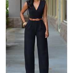 Black Casual Belted V Neck Long Pants Jumpsuit For Women - Outfit Ideen Look Fashion, Womens Fashion, Feminine Fashion, Fashion Styles, Fashion Ideas, 50 Fashion, Fashion 2018, Fashion Clothes, Fashion Photo