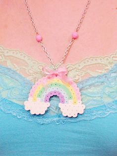 "Pastel Rainbow NECKLACE on Silver-Plated 22"" Link Chain w Lobster Clasp & Ribbon Bow by RainbowMoonShop on Etsy"
