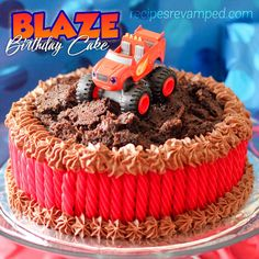 Blaze Birthday Cake - My little boy LOVED his birthday cake and couldn't wait to blow out the candles and play with his new toy Blaze! Blaze Birthday Cake, Truck Birthday Cakes, Little Boy Cakes, Cakes For Boys, Bolo Blaze, Blaze And The Monster Machines Cake, Blaze Cakes, Cupcake Decorating Tips, Decorating Ideas