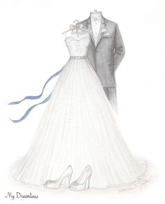 A sketch of her wedding dress, suit and shoes. Wedding gift, anniversary gift and bridal shower gift. http://www.mydreamlines.com/ #oneyearanniversarygift
