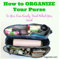 How to Organize Your Purse so you can easily find what you need.  The Perfect Purse Organizer Giveaway from Purse Perfector at I'm an Organizing Junkie blog