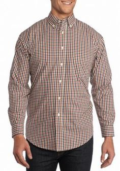 Saddlebred  Long Sleeve Mini Check Poplin Shirt