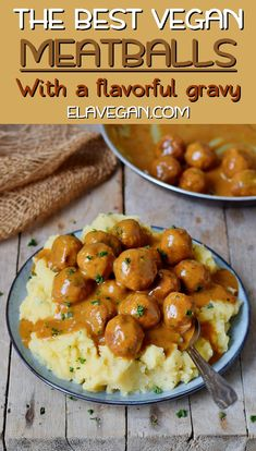 These easy vegan meatballs with a flavorful spicy gravy will make your mouth water. This gluten-free comfort meal is hearty, satisfying, and easy to make. Enjoy these meatless balls which are made of beans over mashed potatoes, spaghetti or rice! Vegan Dinner Recipes, Veggie Recipes, Whole Food Recipes, Cooking Recipes, Healthy Recipes, Easy Vegan Dinner, Kid Recipes, Easy Veggie Meals, Easy Vegan Food