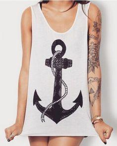 Loose anchor tank top for women white sleeveless t shirt