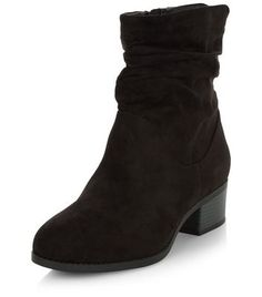 Wide Fit Black Suedette Ruched Boots