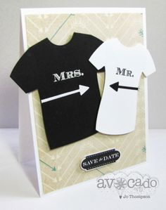 Those Mr and Mrs tee shirts are all the rage and recreated on this whimsical handmade wedding card.  The shirts were made with a punch but could easily be handcut.  Use black and white like this card or match the wedding colors.