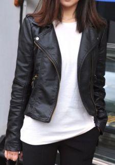 2013 Fashion New Black Zipper Jacket - Sheinside.com