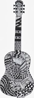 Acoustic guitar...I am still learning....black ink on white. www.sulane.com  Sue's Creations and Crafts