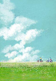 gaedojoor - 0 results for illustrations Art Et Illustration, Landscape Illustration, Landscape Art, Illustrations, Anime Scenery Wallpaper, Wallpaper App, Nature Wallpaper, Pastel Art, Aesthetic Art