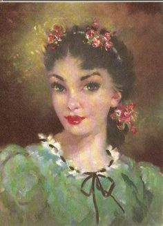 Beautiful girl!  vintage art - Vintage Portrait