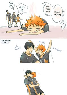 Haikyuu comic - Kageyama x Hinata Kagehina Haikyuu Kageyama, Hinata Shouyou, Haikyuu Funny, Haikyuu Fanart, Haikyuu Ships, Kawaii Anime, Skam Tumblr, Kagehina Cute, Volleyball Anime